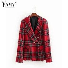 092cced80d Outono mulheres blazers e jaquetas de tweed xadrez blazer double breasted  pockets tassel hem fêmea solta casuais outwear Coreano