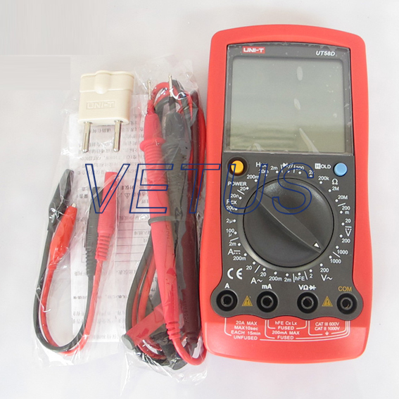 UNI-T UT58D UT-58D LCD Handheld DMM AC DC economic Digital Multimeter with Max. Display 1999  uni t ut90c ut 90c low price best multimeter digital with lcd display