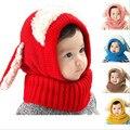 Высокое Качество и Благоприятное цена Малыш Теплую Шапку Зимой шапочка С Капюшоном Шарф Earflap Трикотажные Милые Детские Шапки Мальчики Девочки шляпа