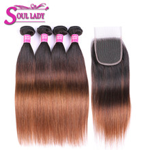 1B/4/30 Ombre Straight Human Hair Bundles With Closure Pre-Colored Peruvian Hair Weave 4 Bundles With Closure Non Remy 5Pcs/Lot(China)