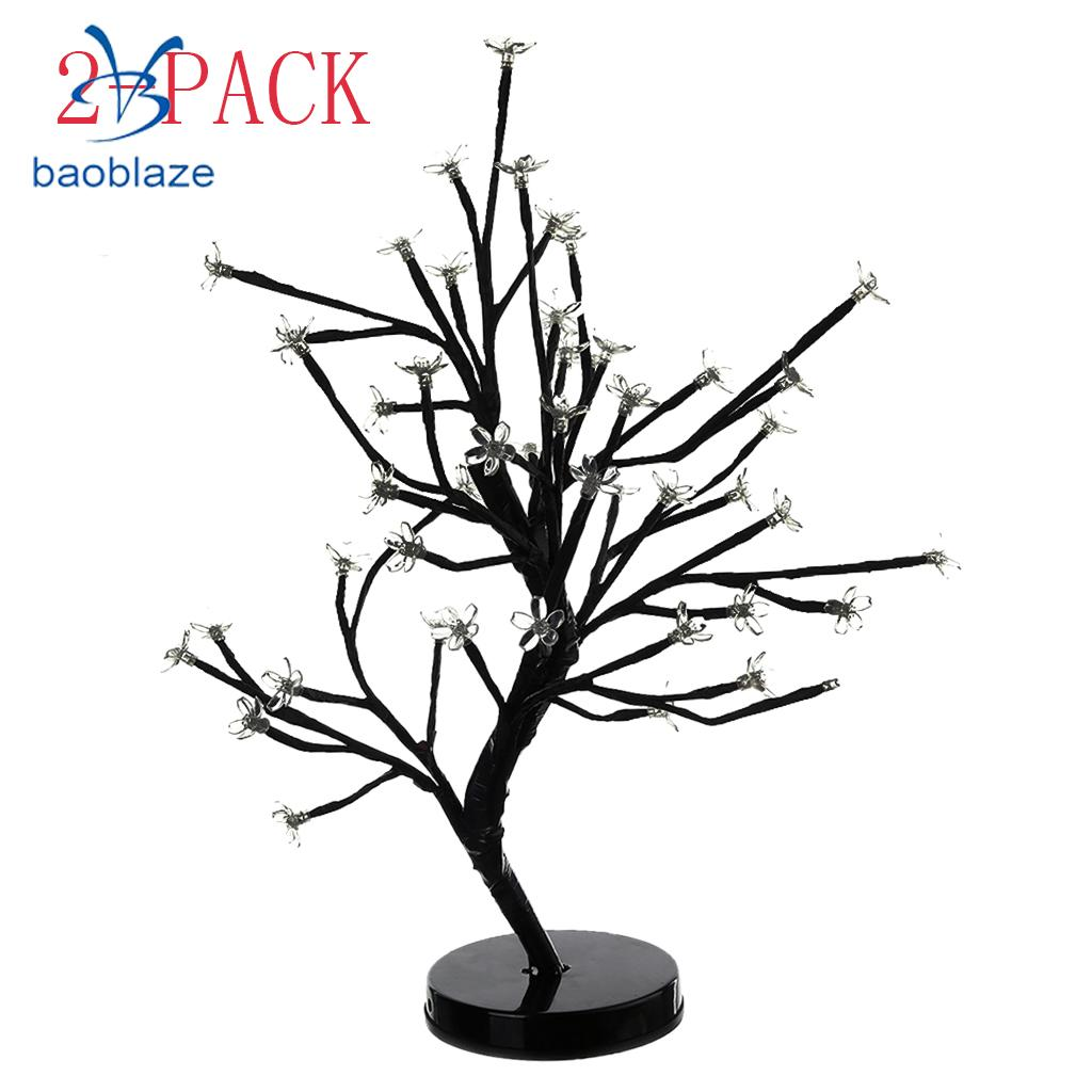 2Pcs 48-led Cherry Flower Blossom Tree Lamp Ambient Table Lamp Bonsai Lamp Centerpiece Warm tree print table cover