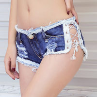 Summer Nightclub Sexy Girls Dance Jeans Shorts Short Pants Beach Low Waist Lace up Denim Shorts for Woman