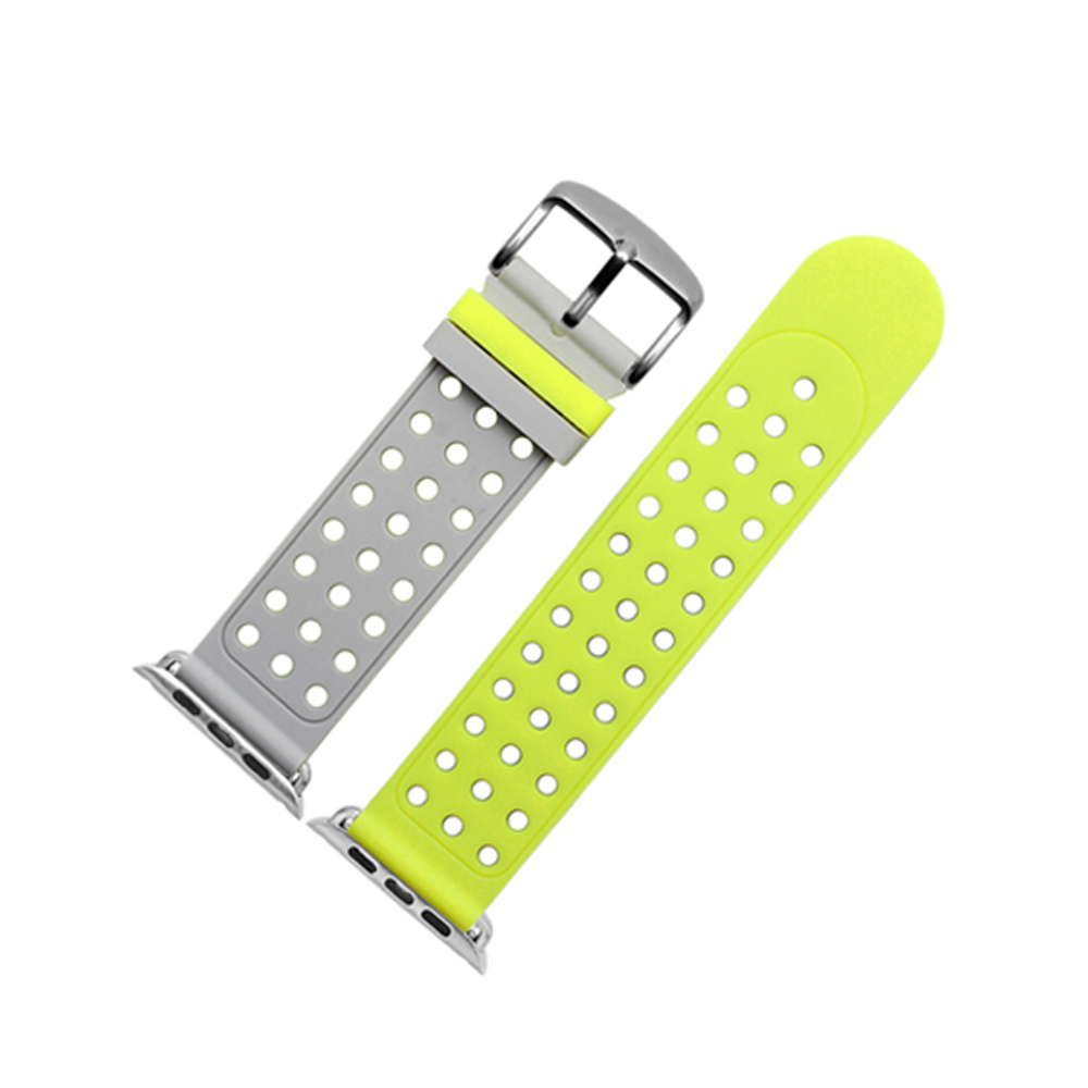 Dual-color Sport Strap Band for Apple Watch 42mm 38mm wrist bracelet belt Breathable Silicone watchband for iwatch 3/2/1 new 38mm 42mm watchband original with light flexible breathable silicone watchs strap band for apple watch iwatch watch strap