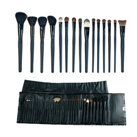 Free Shipping 35pcs Professional Animal Hair Cosmetic Makeup Brush Set With Grid Pattern Button Pouch