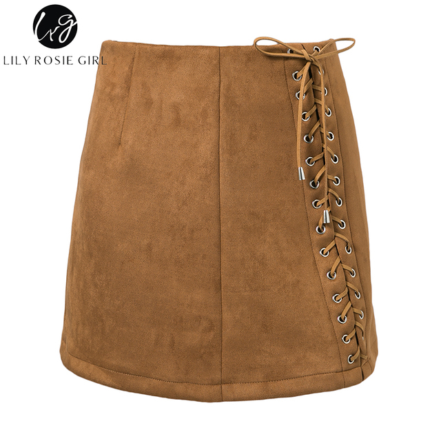 Lily Rosie Girl Lace Up Suede Leather Skirts Sexy Short Mini Autumn Winter Women Ladies Zipper Skirts
