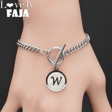 Punk Letter W Shell Stainless Steel Bracelets Women Silver Color Bangles Jewelry pulsera acero inoxidable mujer B18413