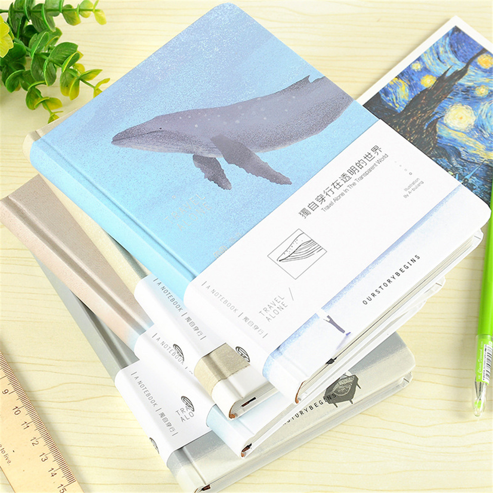 A5 Journal Diary Notebook Diary Notepad Cartoon Travel Kawaii Blue Whale 128 Sheets Notepads School Office Supply a5 secret diary book restoring vintage notepad high end notebook notebook agenda journal school office student stationery supply