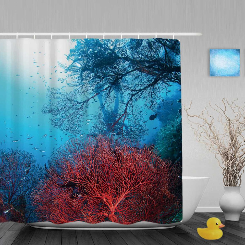Online buy wholesale coral reef fabric from china coral for Coral reef bathroom decor