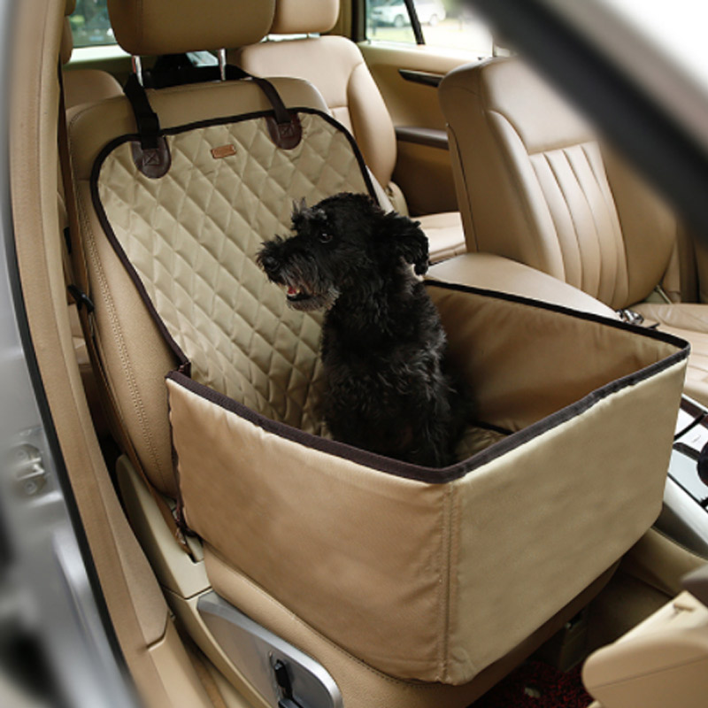 MATCC Dog Car Seat Single Seat For Back Seat Waterproof Dog Car Seat Cover Pet Dog Car Supplies Pet Booster Seat with Safety Leash Rear Seat Protector Hammock Dog Car Carrier White Paw Prints