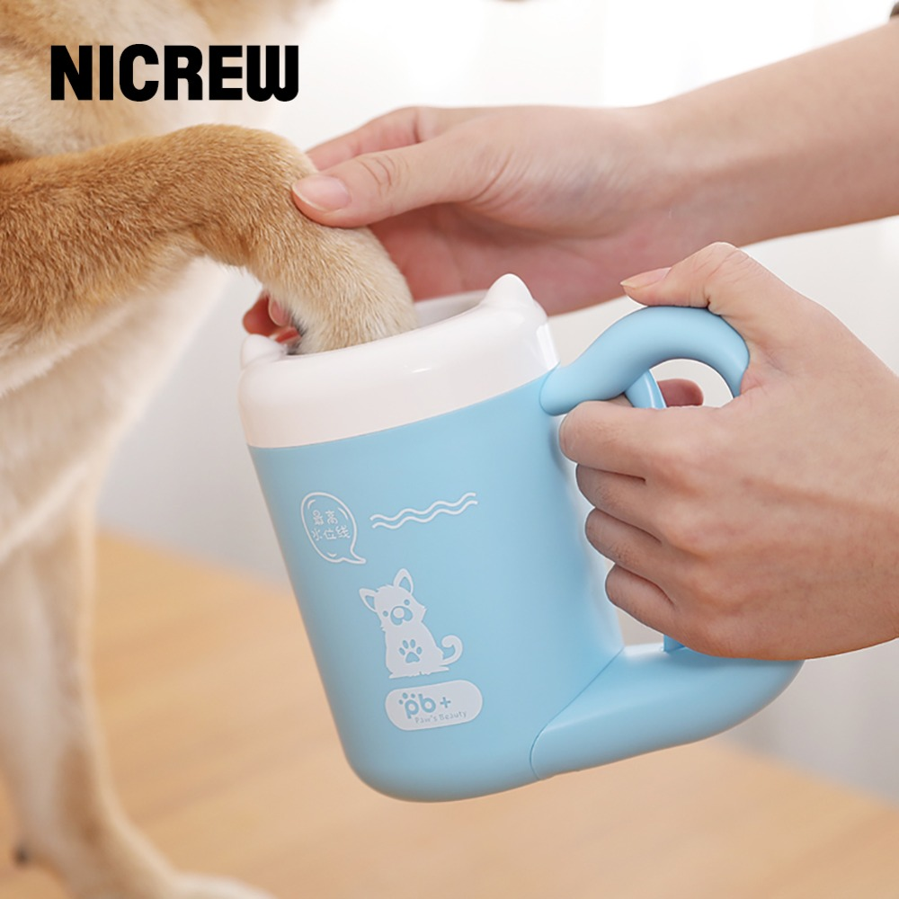NICREW Pet Cat Dog Foot Clean Cup Cleaning Tool Portable Automatic Rotation Cat Dog Foot Clean Cup Pet Paw Pet Accessories