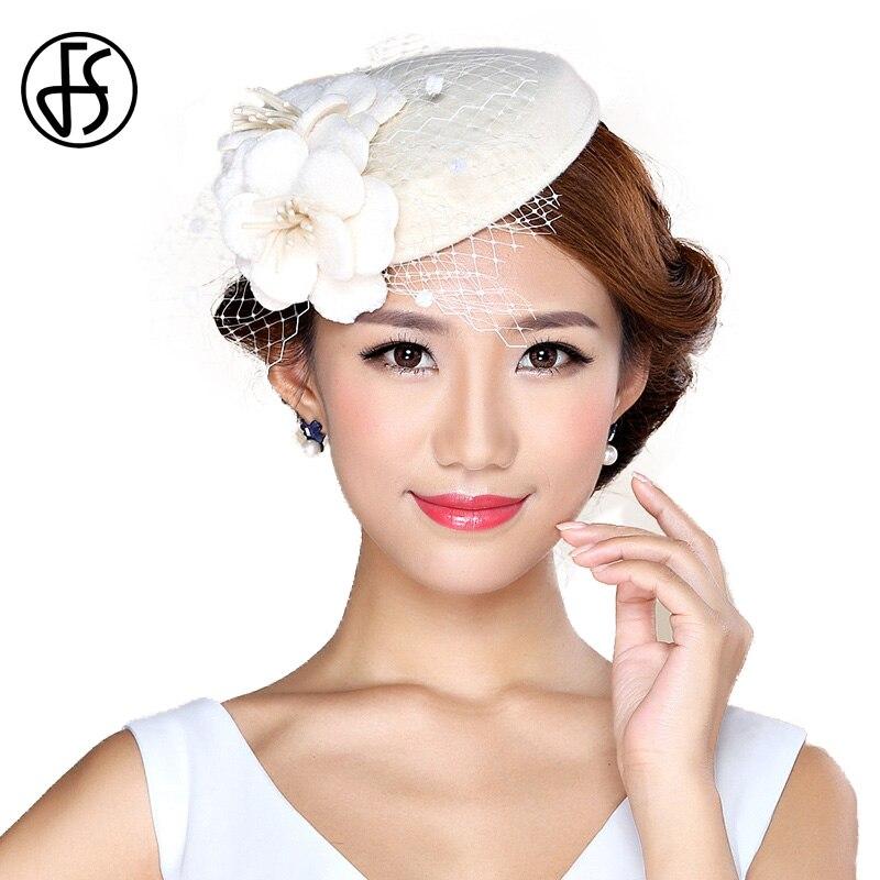 FS Vintage Ladies White Hat Church Wool Felt Pillbox Hat Veil Fascinators For Womens Elegant Flower