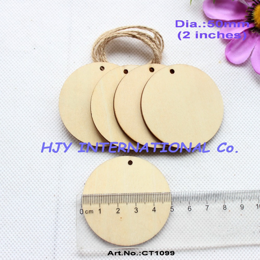 Cheap arts and crafts supplies -  40pcs Lot 50mm Unfinished Blank Wooden Circle Wood Disc Tags Decor Gift Tags Laser Cut Craft Supplies 2 Ct1099