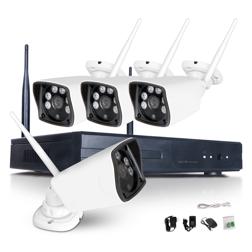 4CH 960p HD Wireless Security Camera System 1.3MP Indoor/Outdoor Night Vision Wireless IP network Cameras and 1TB Hard Drive
