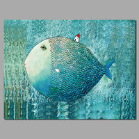 Big Size Decoration Blue Green Fish Animal House Wall Art Pictures Canvas Painting For Children Kids