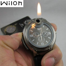 Military Lighter Watch Novelty Quartz Sports Refillable Gas Cigarette Cigar Men'