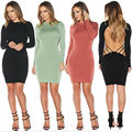 Sexy Women's Autumn Solid Hollow Out Bandage Bodycon Pencil Evening Party Club Dress Long Sleeve VD8057