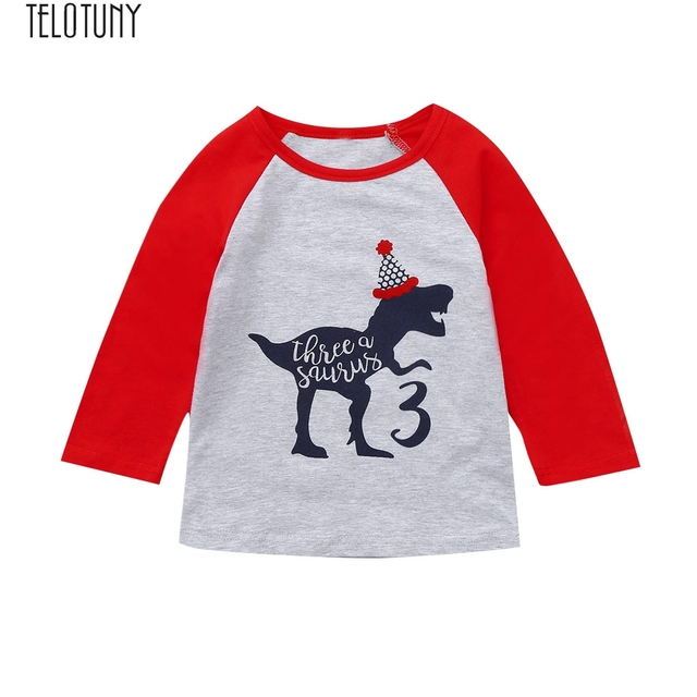 TELOTUNY Baby Tops Toddler Kids Boy Girl Dinosaur Birthday Shirt Cartoon Tee Outfits Casual Fashion New Jan3