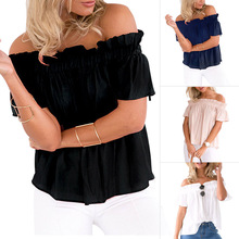 New Arrival Women Ruffle Short Sleeve Off Shoulder Fashion Solid Color Tops for Summer Beach Party