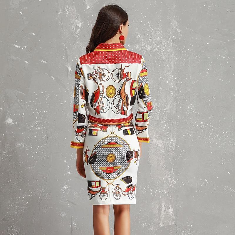 2 Pièces Haute Turn Shirts Qualité Mode Costumes Collar Mince Manches Assez Automne Imprimer Ensembles Femmes Jupes down Complet 2018 wxRFEqnA