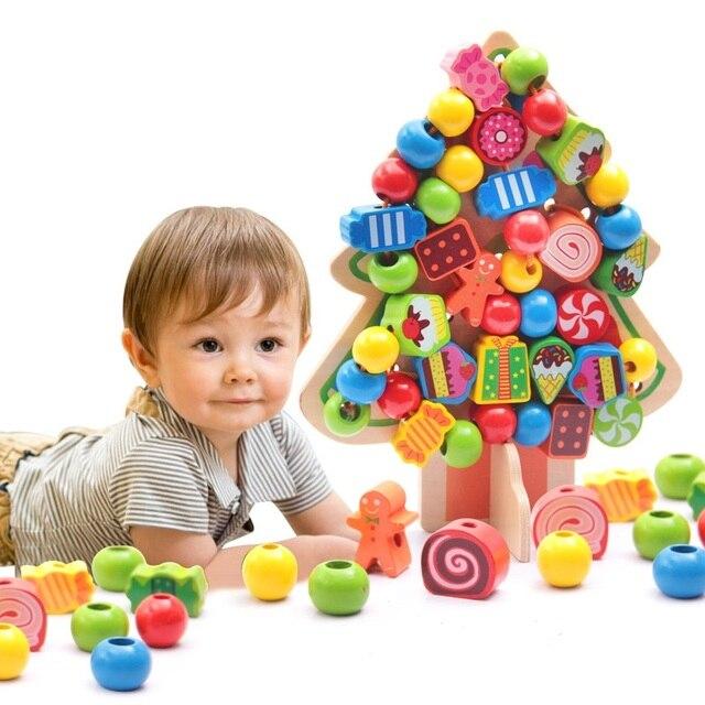 Дошкольного Деревянные Монтессори Математика озадачен Игрушки для детей Дети бусы Многопоточности игрушки Цифровой Соответствие Пластины Juguetes W262