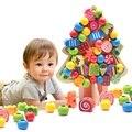 Preschool Madeira Montessori Matemática confuso Brinquedos para crianças Crianças brinquedos contas de Threading Digital Correspondência Placa Juguetes W262