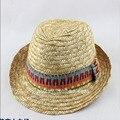 2016 мода новый дизайн, высокое качество ручной работы соломенная шляпа крышки Джаза родитель ребенок TreeHat Формальный летом вс шляпы пляж шляпа