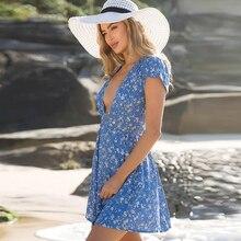 TIGENA Floral Deep V-neck Wrap Summer Dress Women 2018 Summer Sundress Casual Tunic Beach Dress Shirt Short Sexy Robe Femme
