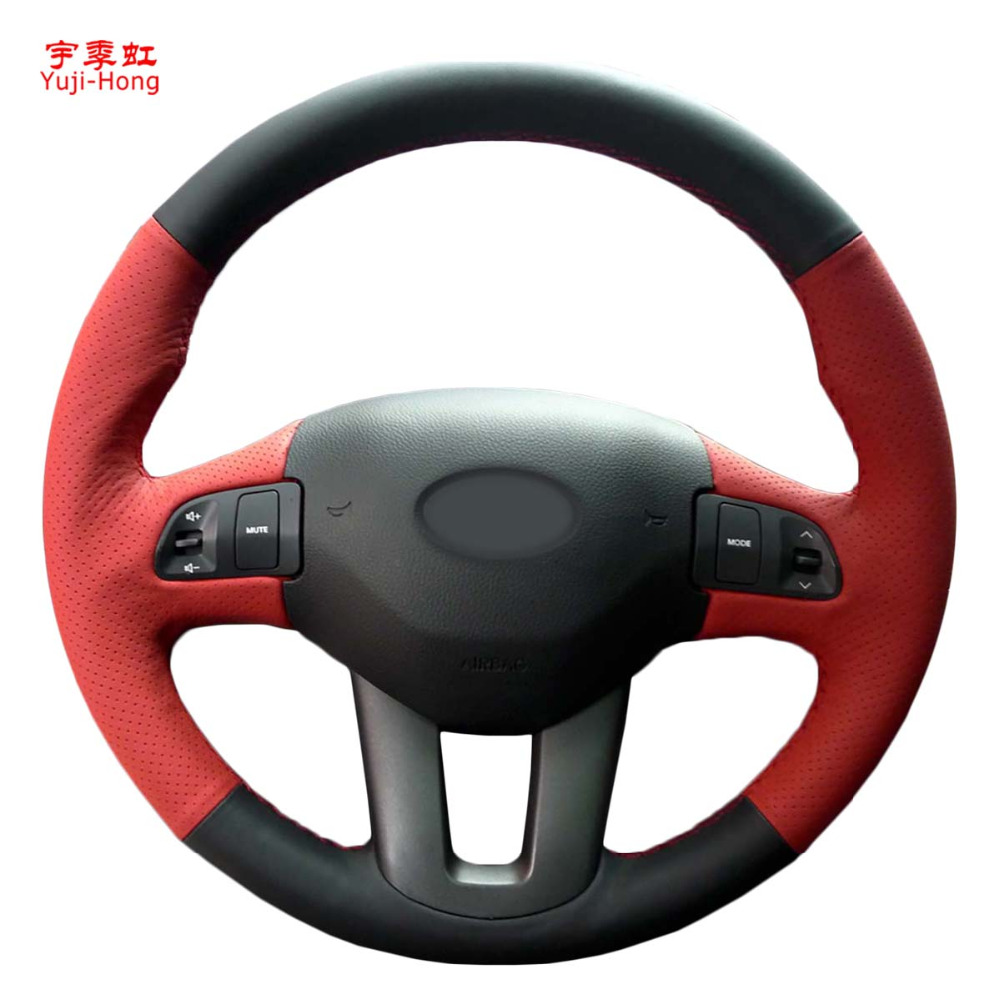 Car Steering Wheel Covers Case for KIA Sportage R 2011-2016 Top Layer Cow Leather Auto Cover Hand-stitched Real Leather