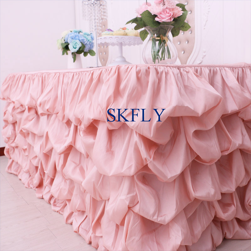 CL015E New custom made 2019 taffeta ruffled 6ft rectangle 30 wide, 72 long, 30 drop pink table cloth with topCL015E New custom made 2019 taffeta ruffled 6ft rectangle 30 wide, 72 long, 30 drop pink table cloth with top