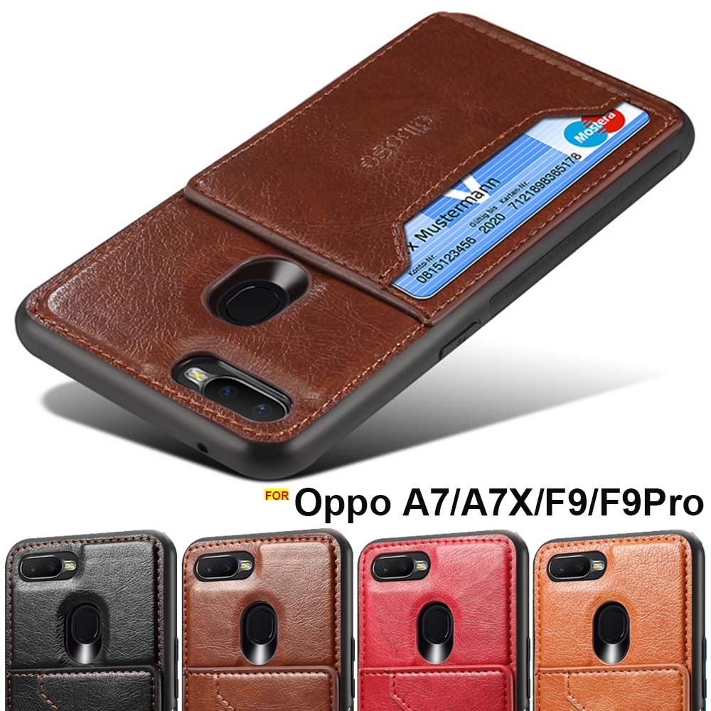 OPPO F9 case cover OPPO F9 Pro case soft TPU frame card hoder stand Car Magnetic leather case for OPPO A7 back cover A7X case