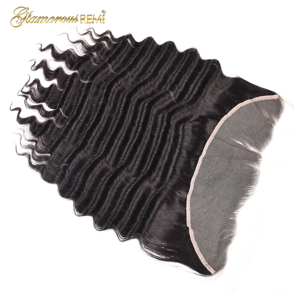 Glamorous Remi 13x4 Indian Loose Deep Wave Swiss Lace Frontal Closure With Baby Hair 8 20 Remy Human Hair Natural Black Color