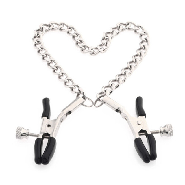 Silver Black Women Nipple Clamps Breast Clamps with Metal Chain 25cm