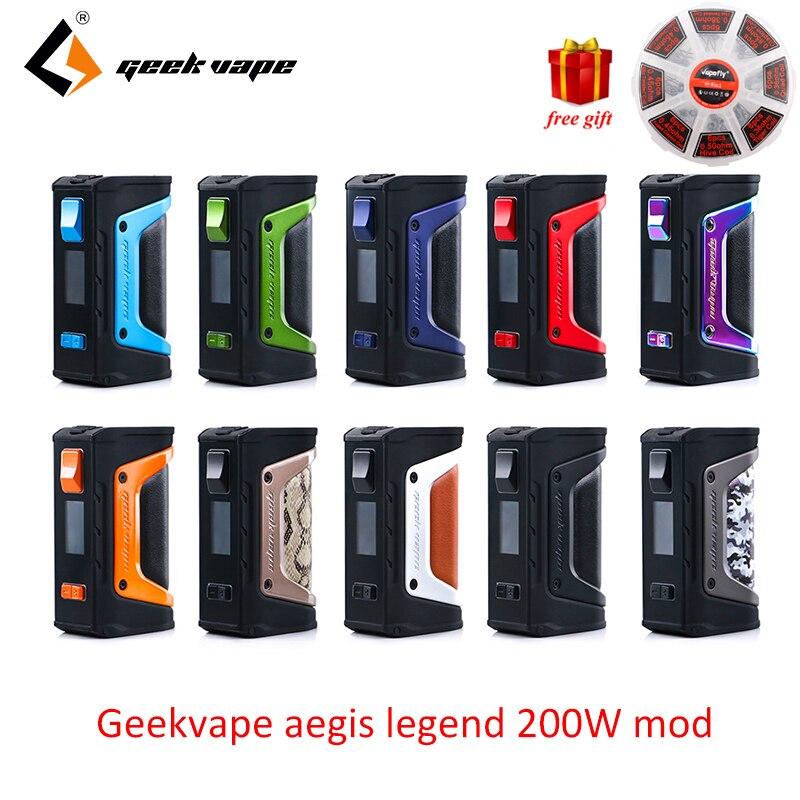 Vapoteuse GeekVape L'égide mod l'égide Légende 200 W boîte de tc MOD Alimenté par Double 18650 batteries e cig Pas de Batterie pour zeus rta blitzen