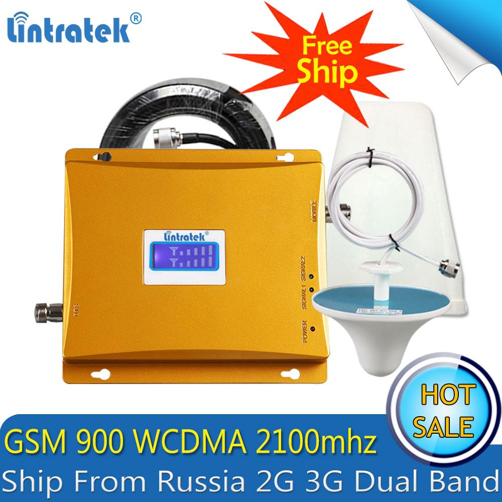 Lintratek russie 2G 3G GSM 900 WCDMA 2100 mhz double bande répéteur de Signal de téléphone Mobile GSM 3G UMTS amplificateur cellulaire 2G 4G antenne