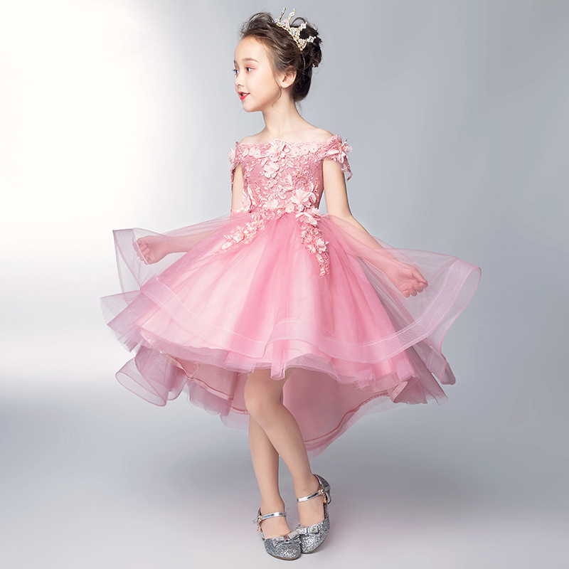 Children's dress Pink princess dress 2019 new word shoulder flower girl dress female wedding wedding girl catwalk evening dress