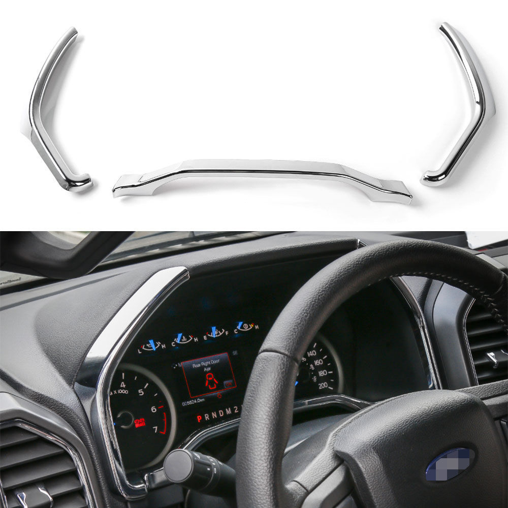 3Colors Car Inner ABS Dashboard Instrument Box Cover Trim Strip Decoration Frame Fit For Ford F150 2015+ Car Styling Accessories цена