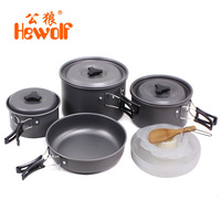 4 5 People Outdoor Camping Cooker Field Supplies Portable Cooking Utensils 15 PCS Set Hiking Cooking