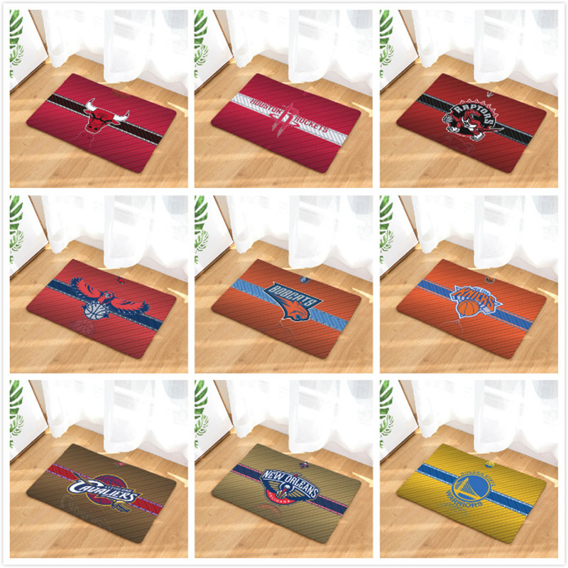 Home Textile Flannel Mats Basketball Team Printed Surprise Gift Doormats Area Rug Kitchen Anti-slip Carpet Bathroom Pad Mats