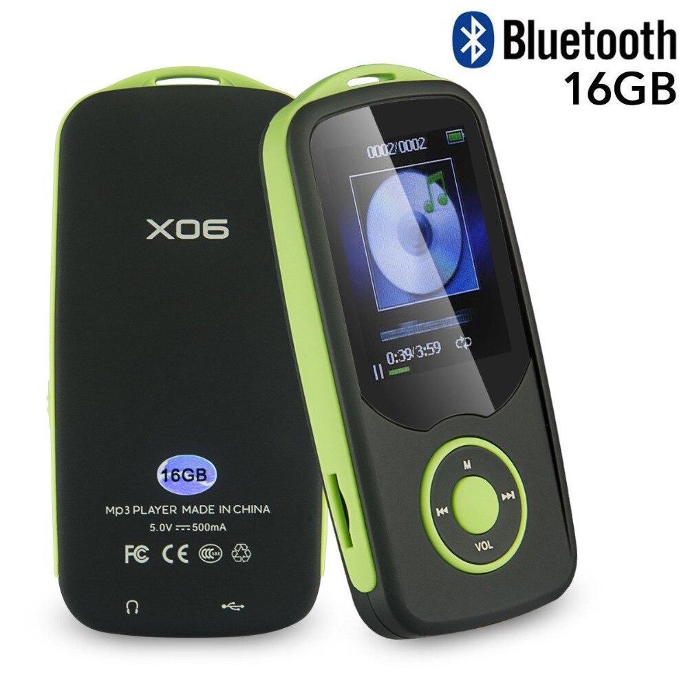 MP3 Lecteur Mise À Jour Version RUIZU X06 16 gb Bluetooth MP3 Lecteur de Musique avec FM Radio, enregistreur Extensible jusqu'à 64 gb + Lanière Libre