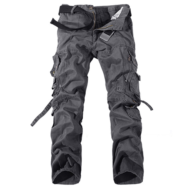 2019 Men's Cargo Casual Pants Army Green Big Pockets Cotton Pants Baggy Military Overalls Male Long Trousers 28-42 Plus Size