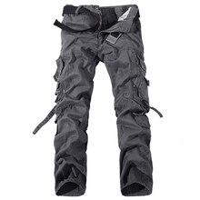2020 ชายกระโปรงกางเกงArmyสีเขียวขนาดใหญ่กระเป๋าผ้าฝ้ายกางเกงBaggyทหารOverallsกางเกงชายยาว 28 42 PLUSขนาด