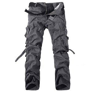Image 1 - Pantalones Cargo Casual para hombre 2020, pantalones de algodón con bolsillos grandes, pantalones militares holgados, pantalones largos para hombre 28 42 de talla grande