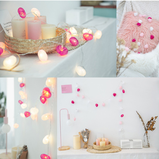 Jiaderui Cotton Heart Shaped String Lights Valentine S Day Wedding Bedroom Home Decorations Ins Christmas Garland