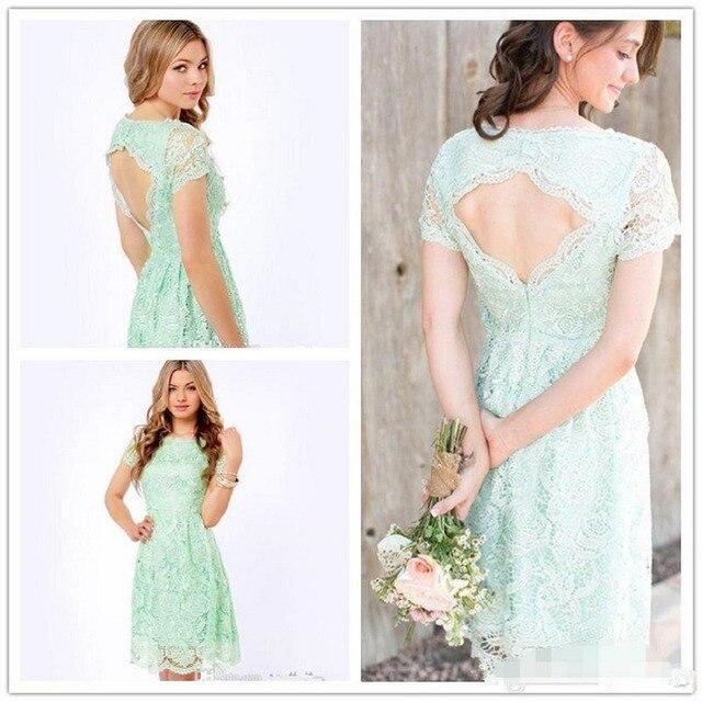 221eab69028 New Arrival 2017 Bridesmaid Dresses Lace Mint Light Green Sheath Short  Sleeve Backless Bateau Knee Length Women dress Plus size