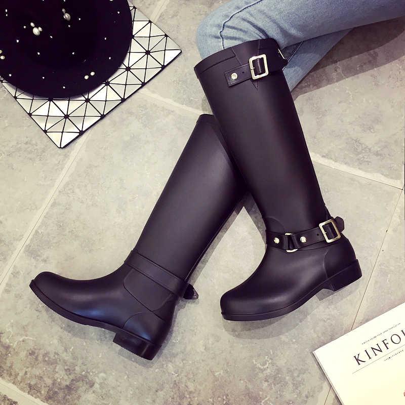 f260539a8 Резиновые сапоги для дождливой погоды, женские сапоги В рыцарском стиле,  черные ботинки, красные
