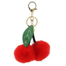 Furling 1pc Hot Pink/ Red Cherry Faux Pompoms Ball Keychain Key Ring Bag Charm Girls Women Accessories Car Chain Accessories