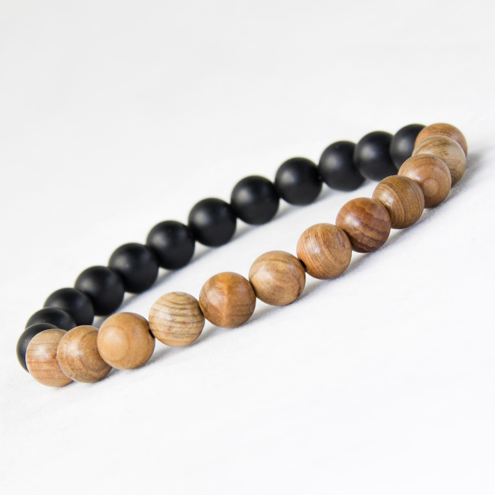Us 1 89 5 Off New Men Natural Wood Beads Bracelets Black Matte Onyx Meditation Prayer Bead Bracelet Women Wooden Jewelry Yoga In Strand