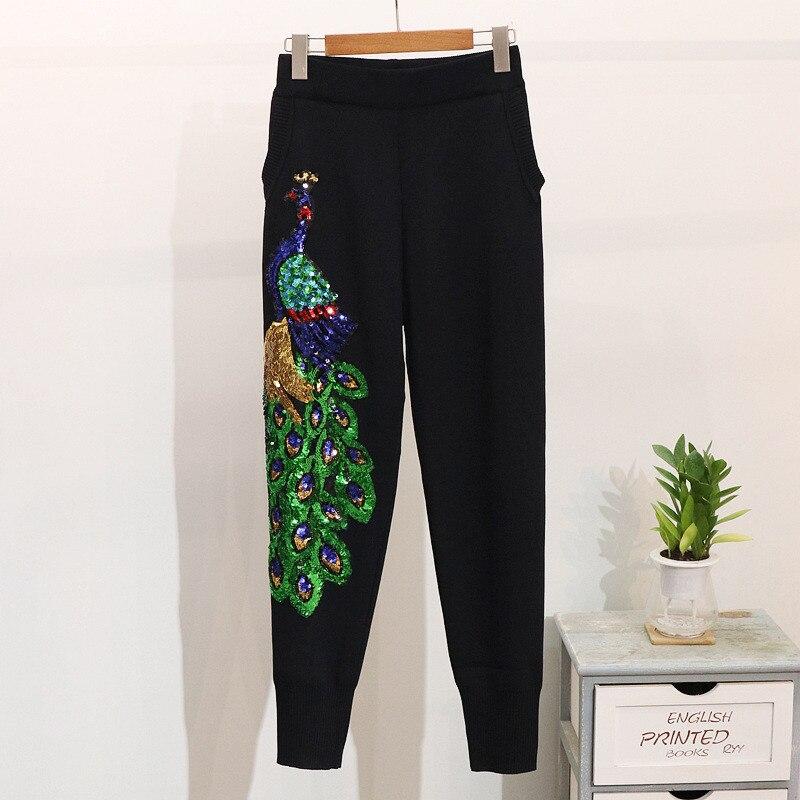 Pantalon Tricot Automne 2 Survêtements Paillettes Femelle Luxe Casual Pièce Ensemble Chandail Noir Costumes Femmes De Paon Ensembles Printemps CxAqHFUw8