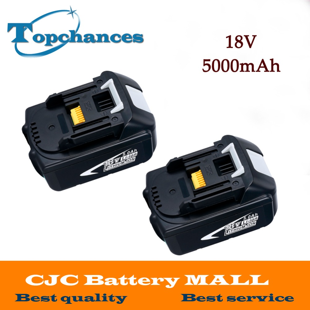 2PCS High Capacity 5000mAh 18V Li-ion Replacement Battery for Makita BL1850 BL1830 BL1845 BL1840 LXT With Power Light hot 2x 18v 4 0ah battery for makita bl1840 bl1830 bl1815 lxt lithium ion cordless