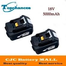 2PCS High Capacity 5000mAh 18V Li-ion Replacement Battery for Makita BL1850 BL1830 BL1845 BL1840 LXT With Power Light